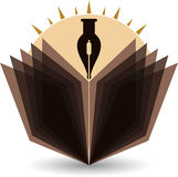 Яркий логотип ручки и книги Стоковые Изображения RF