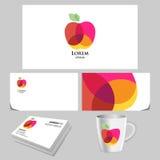 Яркий логотип яблока с прозрачным влиянием Стоковое Фото