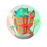 Яркий дом вектора в весеннем времени Коттедж в викторианском стиле дом с балконом, крылечком и магазином, витриной, сенью Стоковые Фото