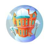 Яркий дом вектора в зимнем вечере Коттедж в викторианском стиле дом с балконом, крылечком и магазином Стоковое Изображение RF