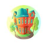 Яркий дом вектора в погоде лета Коттедж в викторианском стиле дом с балконом, крылечком и магазином, витриной Стоковые Фото