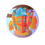Яркий дом вектора в погоде осени Коттедж в викторианском стиле дом с балконом, крылечком и магазином, витриной Стоковая Фотография