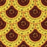 Яркий оранжевый цвет Круглые орнаменты симметрия Африканские мотивы иллюстрация вектора