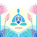 Яркий лотос йоги эмблемы дизайна мозаики Стоковые Фотографии RF