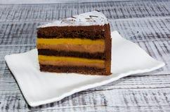 Яркий отрезок шоколадного торта лета солнцецвета Стоковое Изображение RF
