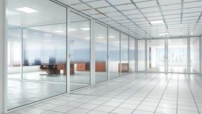 яркий офис со стеклянными дверями внутренними иллюстрация вектора