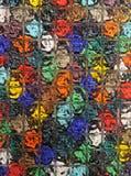 Яркий пестротканый конец детали матированного стекла вверх стоковые фото