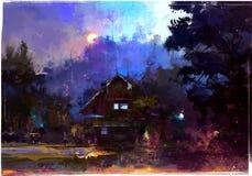 Яркий покрашенный ландшафт вечера с хатой в лесе Стоковые Фотографии RF