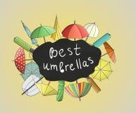 Яркий покрашенный набор зонтиков и парасолей бесплатная иллюстрация