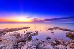 Яркий после seascape морского пехотинца захода солнца Стоковая Фотография RF