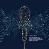 Яркий плакат с микрофоном новостей, динамические волны сделан золота и голубого яркого блеска Стоковые Фотографии RF