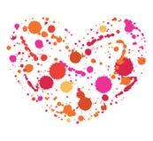 Яркий, сердце цвета акварели брызгает Стоковые Фотографии RF