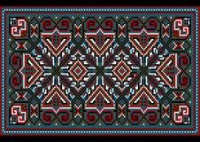Яркий старый стиль ковра в сини и тенях burgundy иллюстрация вектора