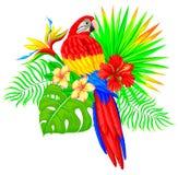 Яркий тропический состав с пальмой и цветками попугая Стоковая Фотография RF