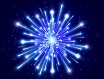 яркий феиэрверк Фейерверк цвета неоновый в ночном небе Новый Год предпосылки Дизайн торжества Вектор взрыва голубой звезды иллюстрация штока