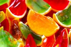 Яркий цвет, красный цвет, зеленый цвет, апельсин, студень в корке апельсинов Стоковая Фотография RF