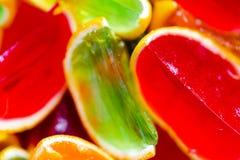 Яркий цвет, красный цвет, зеленый цвет, апельсин, студень в корке апельсинов Стоковые Изображения