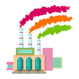 Яркий чертеж шаржа завода с 3 трубами, от которых приходят дым пинк, оранжевые и зеленые Стоковые Изображения RF