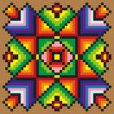 Яркий шить цветочный узор на русой предпосылке Стоковое фото RF