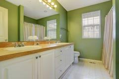 Яркий ый-зелен интерьер ванной комнаты Стоковое Фото