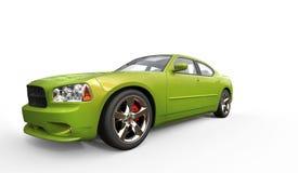 Яркий ый-зелен металлический быстрый автомобиль Стоковое Изображение
