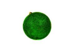 Яркий ый-зелен шарик рождества изолированный на белизне Стоковое Фото