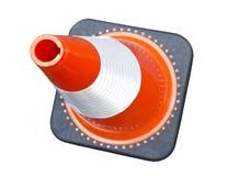 Яркое взгляд сверху конуса движения оранжевого красного цвета Стоковые Фото