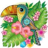 Яркое декоративное toucan среди экзотических заводов и цветков Vector изображение для печати на одеждах, тканях, плакатах, пригла Иллюстрация вектора