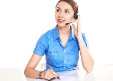 Яркое изображение дружелюбного женского оператора линии для помощи стоковое изображение