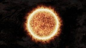 Яркое и горячее оранжевое солнце в космосе иллюстрация вектора