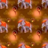 Яркое красное безшовное с слоном Стоковая Фотография