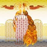 яркое павлина птиц мыжской suturated съемкой Предпосылка картины красивого золота безшовная также вектор иллюстрации притяжки cor Стоковое фото RF