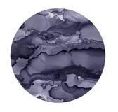 Яркое пятно акварели Покрашенная серая предпосылка круга Абстрактная текстура изолированная на белизне Printable украшение иллюстрация штока
