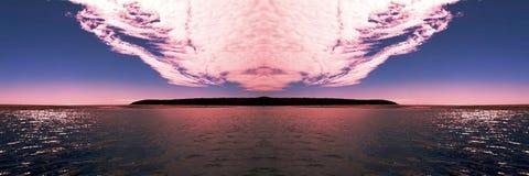 Яркое розовое облако над островом океана Стоковая Фотография RF