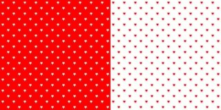 Яркое backgro точек польки дизайна красной и белой формы сердца ретро Стоковая Фотография