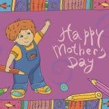 Яркой карточка нарисованная рукой на День матери Стоковые Изображения