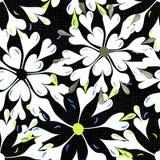 Ярко покрашенные абстрактные цветки на картине черной предпосылки безшовной vector иллюстрация Стоковые Фото