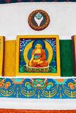 ярк буддийские украшенные настенные росписи памятника leh ladakh Индии покрасили stupa shanti белым Стоковое Изображение