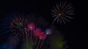 ярк цветастое ночное небо феиэрверков Celebrati Нового Года Стоковое фото RF