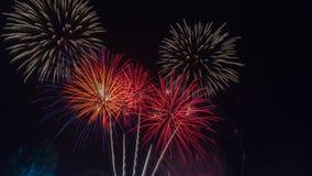 ярк цветастое ночное небо феиэрверков Celebrati Нового Года Стоковая Фотография RF
