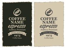 2 ярлыка для кофейных зерен в ретро стиле бесплатная иллюстрация
