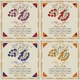 Ярлыки виноградины вина woodcut вида Стоковая Фотография