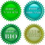 ярлыки зеленого цвета eco содружественные Стоковые Изображения RF