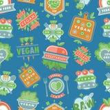 Ярлыки значков логотипа ресторана eco еды вектора органического vegan здоровые с вегетарианским сырцовым диетическим питанием при Стоковая Фотография RF