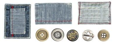Ярлыки и кнопки джинсыов Стоковые Фотографии RF