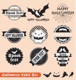 Ярлыки и стикеры Halloween сбора винограда иллюстрация штока