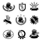 Ярлыки риса и набор элементов Рис значка собрания r иллюстрация вектора