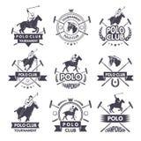 Ярлыки спорта для игр поло Monochrome силуэт жокея и лошади иллюстрация штока
