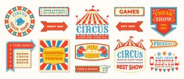 Ярлыки цирка Знаки знамени масленицы ретро, винтажные волшебные рамки и элементы стрелок, приветствуют приветствия шоу r иллюстрация штока