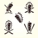 Ярлыки Kebab и набор элементов Kebabs значка собрания r иллюстрация штока